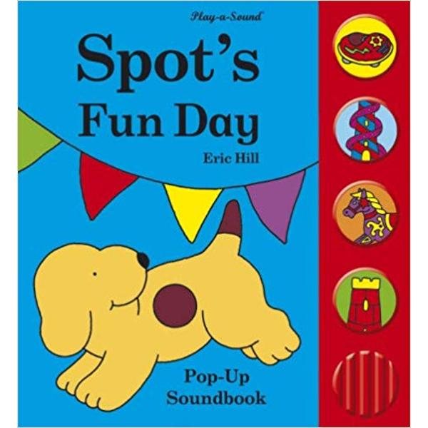 In this fun pop-up sound book Spot goes to the fair Children will love seeing his adventures as he rides on a merry-go-round whizzes down a slide and plays on a bouncy castle with his friend Tom