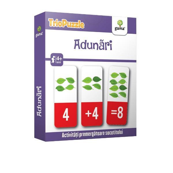 TRIOPUZZLE ADUN&258;RI reprezint&259; o modalitate ingenioas&259; &537;i amuzant&259; de a-l ajuta pe copil s&259; în&539;eleag&259; concepte matematice s&259; numere &537;i s&259; fac&259; primele adun&259;riPachetul con&539;ine• o mini-carte cu jocuri &537;i indica&539;ii pentru p&259;rin&539;i;• 60 de carduri care trebuie identificate &537;i grupate câte trei pentru a recompune 20 de serii corecte