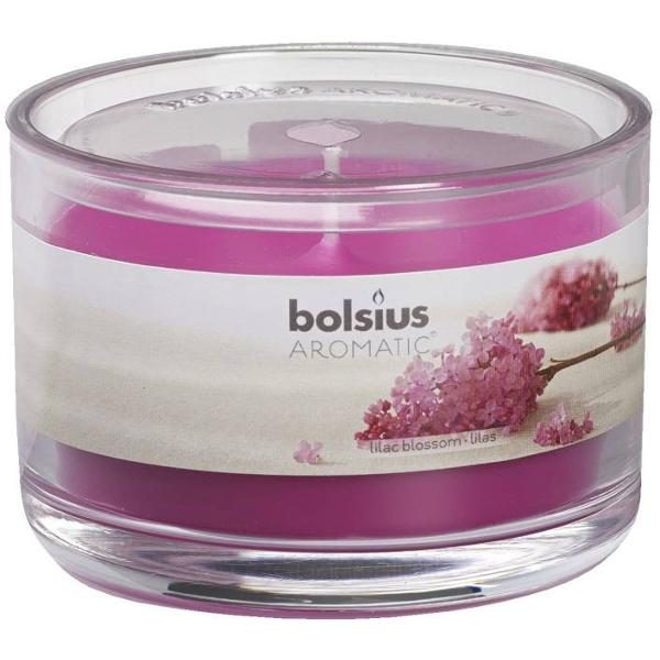 Candela pahar mare Bolsius liliaceste o candela parfumata ce absoarbe mirosurile neplacute emanand un miros placut de liliac