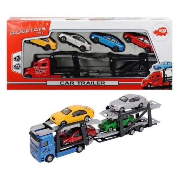 Cu trailerul de la Dickie Toys poti vedea cum ajung masinutele pana la salonul auto unde vor fi expuseSetul contine un trailer cu lungimea de 28 cm si 4 masinuteVarsta recomandata 3 ani