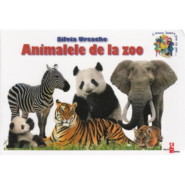 Paginile cartonate ale cartii prezinta prin imagini colorate si informatii concise lumea interesanta a animalelor din de la zoo • Fa cunostinta cu camila elefantul hipopotamul rinocerul ursul polar tigrul leul si alte animale salbatice • afla cum arata ce mananca unde traiesc ce obiceiuri au etc • amuza-te cu poezioarele scurte • raspunde la intrebar