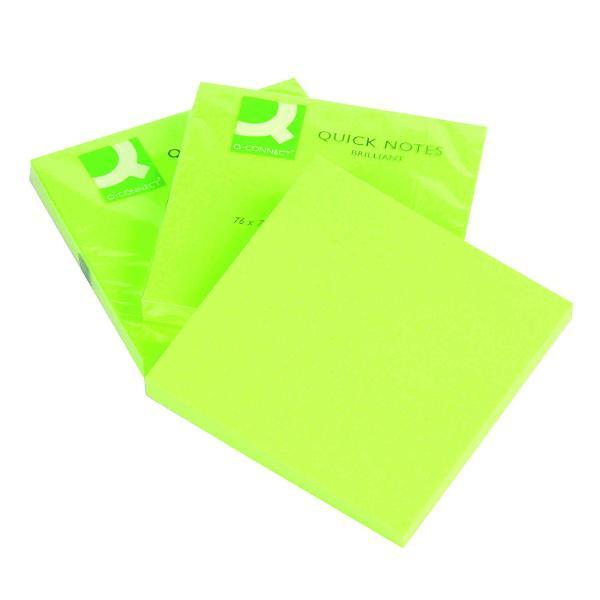 Notes autoadeziv 76x76 mm 75 file verde neon75 file cu banda autoadeziva in partea superioaraIdeal pentru a scrie mesaje-atat acasa cat si la birou