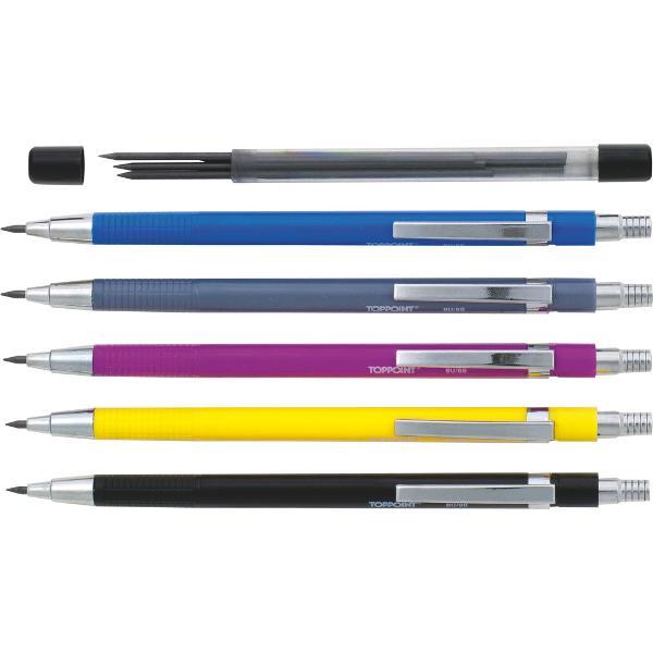 Creion mecanic 2mm cu 6 mine de rezervaCorpul creionul este diferit coloratAmbalaj etui carton