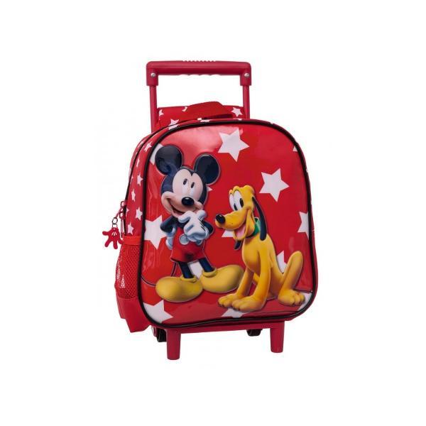 Troler gradinita Mickey & Pluto Stars - 2 roti bretele ajustabile culoare rosu cu imprimeu personaje Mickey Mouse & Pluto dimensiune 23x25x10 cm material microfibra  PVC 1 buzunar lateral maner fixTroler gradinita  Ghiozdan adaptabil cu licenta Disney Mickey colectia Mickey and Pluto Stars este recomandat pentru copii