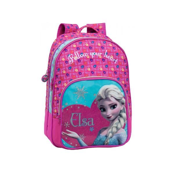 Ghiozdan de scoala Disney Frozen Elsa cu 2 compartimente 1 buzunar exterior confectionat din microfibra si PVC imprimeu cu personajul Elsa dimensiune 32x42x22 cm