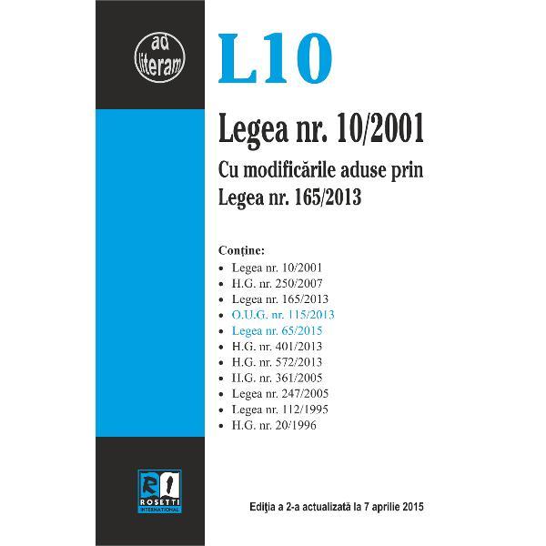 Legea nr 102001 editia a II-a