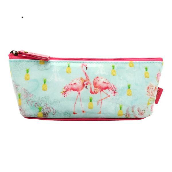 Geanta Flamingos&160;iti pastreaza in toate obiectele de mici dimensiuni dar foarte importante in carcasa sa frumos ornata cu pasari flamingoDimensiuni 7x22x10 cm