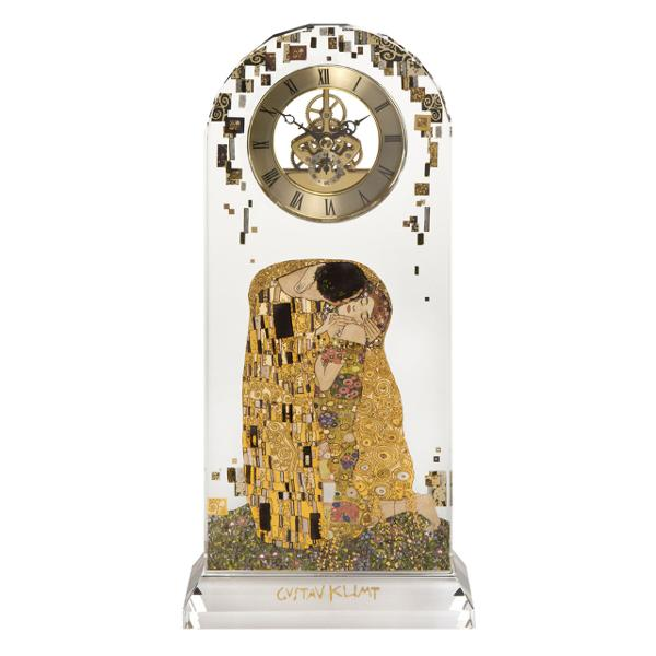 Beautiful 32cm tall glassdesk clock featuring Gustav Klimts famous image The KissThe Kiss is Gustav Klimts best known painting and universally recognized as the ultimate allegory of loveThe clock is produced in flawless crystal clear optical glass reflecting the high art of surface grinding The