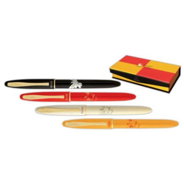Set instrumente de scris de lux Picasso format din pix  stiloucorp metalic rosu ornamente aurite;stilou cu convertor peni&539;&259; iridium placat&259; cu aur 18K;pix cu min&259; tip Parker