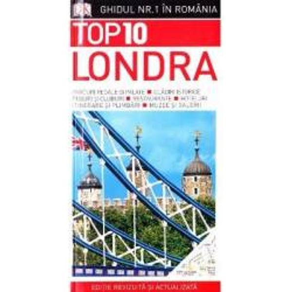 Acest ghid de buzunar TOP 10 te ajuta sa planifici o excursie la Londra Plin de idei inventive sfaturi utile si ponturi din partea unor cunoscatori te indruma direct spre ce e mai bun din Londra Top 10 al celor mai fascinante atractii de la muzee si galerii de arta de neratat la cele mai bune cafenele si baruri si la hoteluri pentru toate buzunarele Itinerare pentru excursii mai lungi sau mai scurte pentru a-ti face sejurul de neuitat Tururi ghidate prin imprejurimile incarcate de