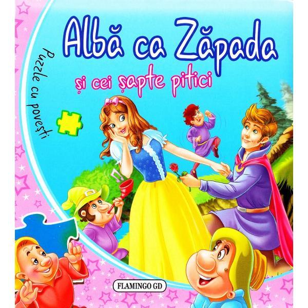O carte-puzzle pentru cei miciMicii curiosi vor putea da pagina rezolva puzzle-uri si urmari actiunea in frumoasele ilustratiiA fost odata demult un rege caruia regina i-a nascut o fetita care avea o piele nespus de alba si ochi albastri Era asa de frumoasa incat i-au pus numele de Alba ca ZapadaDar la scurt timp cand fetita era inca mica mama ei a murit iar tatal s-a recasatorit Noua regina insa pe cat era de
