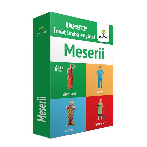 Bingoletto Meserii reprezint&259; un sistem inedit de a înv&259;&539;a limba englez&259; inspirat de popularul joc de bingo Cu ajutorul acestei metode copilul va înv&259;&539;a cu u&537;urin&539;&259; denumirile unora dintre cele mai des-întâlnite meserii îmbog&259;&539;indu-&537;i astfel vocabularulPachetul con&539;ine• 56 de carduri cu control al pozi&539;iei Fiecare card con&539;ine pe o