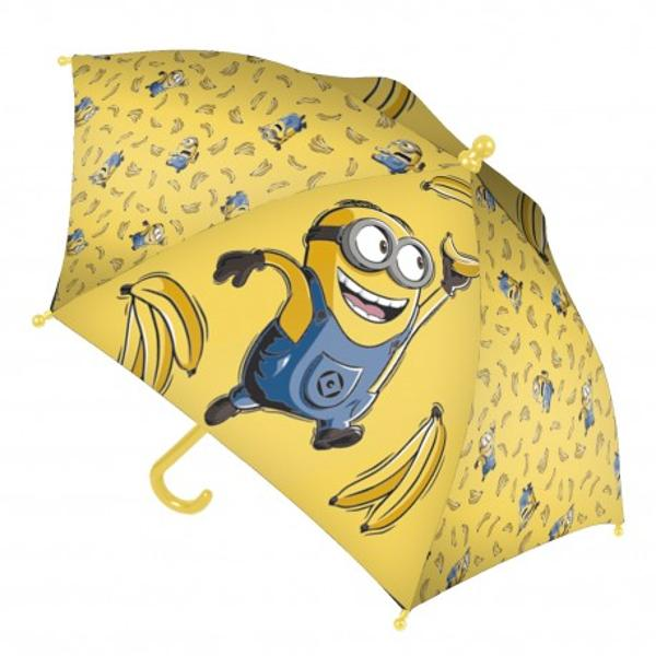Umbrela copii - Minions Bananaeste un accesoriu dragut perfect contra zilelor ploioaseSistemul de inchidere si deschidere al acestei umbrele este foarte practic si usor de folosit prin simpla manevrarea suportului de spiteUmbrela se strange cu ajutorul unei panglici de culoare galbena cu ariciDimensiune inchisa 8x56 cm