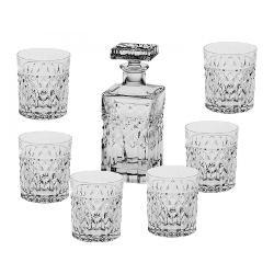 Set 6 pahare si sticla pentru Whisky model Harry Fabricate din cel mai fin Cristal de Bohemia Volum pahar cca 320 ml Volum sticla 700ml Continut plumb minim 24 PbO