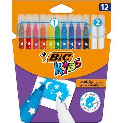 Aprindeti imaginatia unui copil cu BIC Kids Magic Felt Pens Pachetul contine 10 markere colorate si 2 radiere ce permit copiilor de peste 5 ani sa creeze efecte speciale Perfect atat pentru acasa cat si pentru scoala sau in calatorii Varful markerelor de coloriaj este rezistent sub presiune iar culoarea se spala cu usurinta de pe cele mai multe tesaturiDe peste 65 de ani BIC produce instrumente de scris de calitate la pre&539;uri accesibile pentru toti vândute pe tot