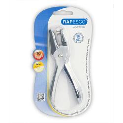 Perforator metalic Rapesco 1 perforatie 10 coli argintiu