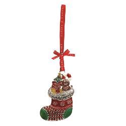 Decoratiune din metal sub forma unui ciorapel cu cadouri vesel colorata decorata cu cristale si glitterArticolul vine insotit de cutie de prezentare cu fundita decorativa si interior placut la atingereUn cadou elegant si pretios pentru un Craciun memorabil