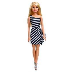 Papusa Barbie tinute stralucitoare blonda cu rochita alb-negru MTT7580-FXL68