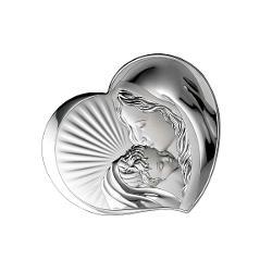 Icoana Argint Maica Domnului cu Pruncul 105x9cm Inimioara
