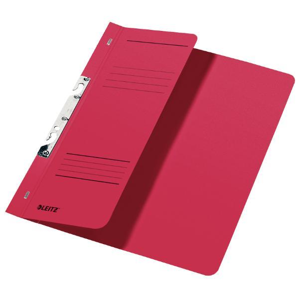 Dosar de carton pentru incopciat 12 Leitz rosuDosar din carton color cu sina pentru stocarea documentelor perforate Copcile speciale permit arhivarea sa in biblioraft sau caiet mecanic cu 2 inele si extragerea acestuia fara a fi necesara deschiderea mecanismuluiCoperta frontala partiala 12 pentru o mai buna vizibilitateCapacitate 170 de coli A4 80 gsmFabricat din carton