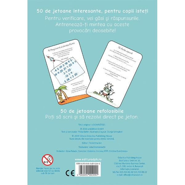 50 de jetoane interesante pentru copii iste&539;i Pentru verificare vei g&259;si &537;i r&259;spunsurile Antreneaz&259;-&539;i mintea cu aceste provoc&259;ri deosebite 50 de jetoane refolosibile Po&539;i s&259; scrii &537;i s&259; rezolvi direct pe jeton  Specifica&539;ii Jetoane 50 Carioc&259; 1 lavabil&259; M&259;rimi Jetoane 10 x 155 Cutie 12 x 16 cm
