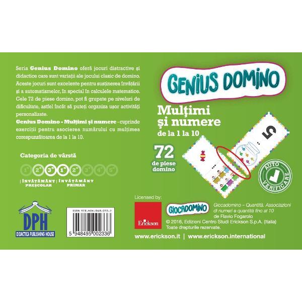 Seria Genius Domino ofer&259; jocuri distractive &537;i didactice care sunt varia&539;ii ale jocului clasic de domino Aceste jocuri sunt excelente pentru sus&539;inerea &238;nv&259;&539;&259;rii &537;i a automatismelor &238;n special &238;n calculele matematice Cele 72 de piese domino pot fi grupate pe niveluri de dificultate astfel &238;nc&226;t s&259; pute&539;i organiza u&537;or activit&259;&539;i personalizateGenius domino - Cantitati - Potrivirea numerelor si a
