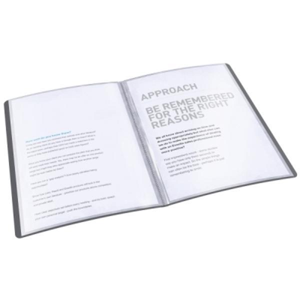 Map&259; de calitate cu copert&259; moale în design VIVIDA Material PP de 036 mm grosime translucid Capacitate 40 de folii pentru 80 de coli Ideal&259; pentru stocarea &537;i prezentarea documentelorSe completeaz&259; perfect cu celelalte produse din gama VIVIDA40 de folii cu deschidere superioar&259; ce faciliteaza prezentarea &537;i r&259;sfoirea documentelorTextur&259; pl&259;cut&259; la atingere cu gravur&259; VIVIDA &537;i material