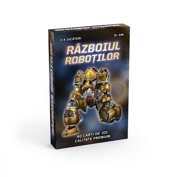 """Clasicul joc de carti """"Razboi"""" intr-o noua interpretareEsti pregatit sa iei parte la razboiul viitorului Creeaza-ti o armata invincibila din cei mai puternici roboti si porneste la luptaPachetuleste format din 40 de carti cu roboti de ranguri diferite de la I la XCartile se impart in mod egal tuturor jucatorilor si fiecare isi pastreza cartile intr-un teanc cu fata in jos in dreptul lui In acelasi timp jucatorii intorc primele"""