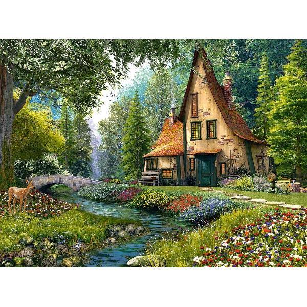 Puzzle de 2000 de piese cu o pictura o cabana in padure Cutia are dimensiunile de 35×265×5cm iar puzzle-ul are 92×68cm