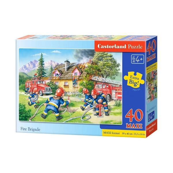 Puzzle cu piese mari pentru copiiUn puzzle format din 40 de piese MAXI care atunci cand este complet masoara 590 mm x 400 mmDimensiunea aproximativa a unei piese de puzzle este de 59 cm2Imagine cu un echipaj de pompieri care stang focul