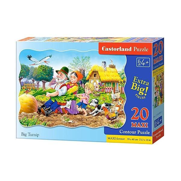 Puzzle pentru copii cu piese mariAtunci cand este gata puzzle-ul masoara 640 mm x 470 mmContine 20 de piese mariBig TurnipFoloseste si accesoriile pentru puzzle