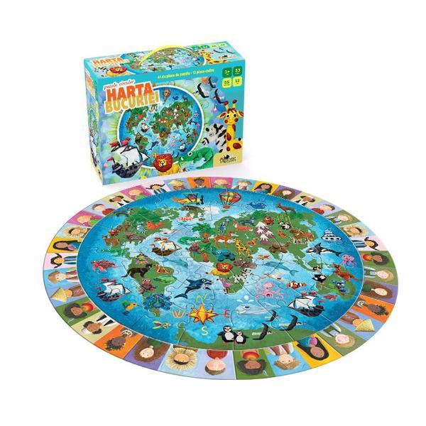 Alcatuieste harta bucuriei si descopera unde se duc toti copiii cand vor sa exploreze minunile naturii sa invete despre plante si animale sa calatoreasca si sa se joaceAsambleaza cele 41 de piese de puzzle pentru a obtine o plansa circulara cu harta lumii La sfarsit aliniaza pe marginea ei cele 12 piese cu 36 de chipuri de copii pentru a-i crea o rama veselaPiese 53Dimensiuni produs in ambalaj 245 x 9 x 185