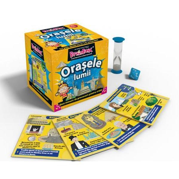 Joc educativ BrainBox Orasele LumiiBrainbox Orasele Lumii este conceput pentru a fi jucat impreuna cu familia si prietenii Va imbunatatiti spiritul de observatie capacitatea de memorare si cunostintele despre cateva orase emblematice ale lumiiObiectivul jocului Fii jucatorul cu cele mai multe cartonase adunate dupa 10 minuteDaca esti cel mai tanar jucator tragi un cartonas din cutie si intorci clepsidra Studiezi imaginea si informatiile de pe fata