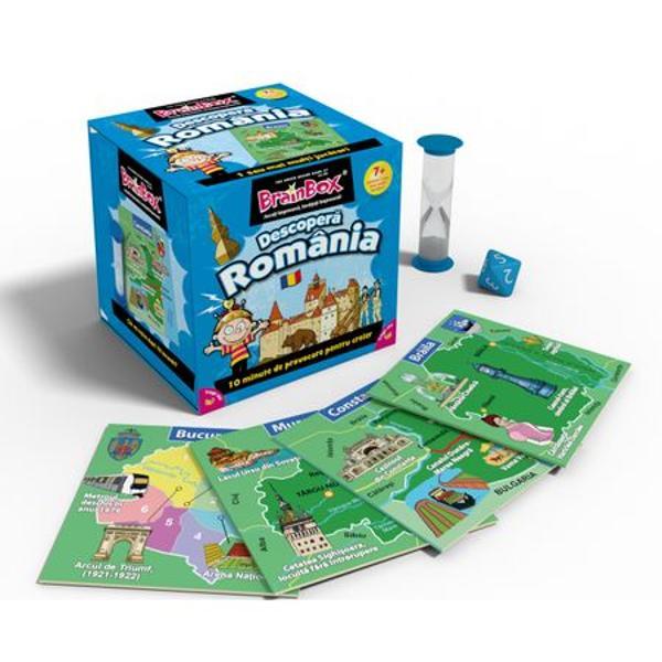 Joc educativ BrainBox Descopera RomaniaBrainbox Romania este conceput pentru a fi jucat impreuna cu familia si prietenii Va imbunatati spiritul de observatie capacitatea de memorare si cunostintele despre istorie geografie si multe alte informatii interesante despre RomaniaObiectivul jocului Fii jucatorul cu cele mai multe cartonase adunate dupa 10 minuteDaca esti cel mai tanar jucator tragi un cartonas din cutie si intorci clepsidra Studiezi imaginea si