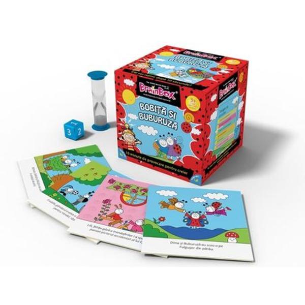 Joc educativ Brainbox Bobita si BuburuzaCalatoreste in lumea Bobitei si Buburuzei cu acest BrainBox conceput pentru ca membrii familiei sa il joace impreunaObiectivul jocului fii jucatorul cu cele mai multe cartonase adunate dupa 10 minuteDaca esti cel mai tanar jucator tragi un cartonas din cutie si intorci clepsidra Studiezi imaginea si informatiile de pe fata cartonasului pana cand se scurge nisipul din clepsidra 10 secunde Clepsidra mai poate fi