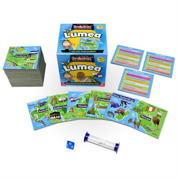 Joc educativ Brainbox LumeaPrimul joc din gama BrainBox conceput pentru a fi jucat in familie va imbunatati spiritul de observatie si capacitatea de memorare precum si cunostintele despre lumea in care traim Actualizat in permanenta fiecare cartonas al unei tari prezinta capitala steagul granitele precum si imagini reprezentative si elemente culturale In prezent tradus in 20 de limbi BrainBox Lumea este un joc clasic de familieCum se joaca