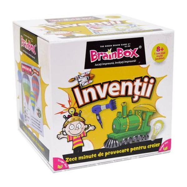 Joc educativ Brainbox InventiiAcest joc inventiv este conceput pentru ca membrii familiei sa il joace impreuna pentru a-si imbunatati spiritul de observatie si capacitatea de memorare a informatiilor despre inventiile care ne-au schimbat modul de viata Conceput cu concursul celui mai faimos Muzeu de Stiinte din Londra fiecare cartonas prezinta o inventie cand a fost inventata si de cine si propria noastra nota acordata acesteia Ce nota ai acorda telefonului becului sau