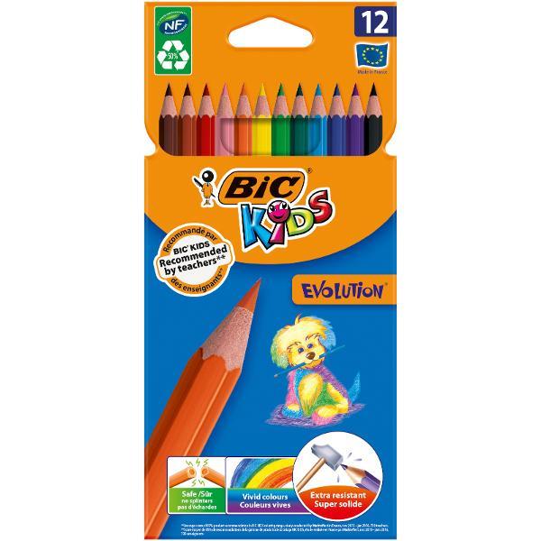 Creioanele colorate BIC Kids Evolution ECOlutions sunt rezistente la soc rezistente la mestecat si nu se sparg daca sunt rupte Cu o manta protectoare ultra-durabila ele pot fi utilizate zilnic si sunt creioanele ideale pentru copii cu varsta de 5 si peste In plus ele sunt fabricate cu ajutorul unor pigmenti de inalt&259; calitate astfel incat umpluturile solide si desenele clare sa devina o sarcina usoara • Pachet de 12 creioane colorate ecologice in culori vesele si