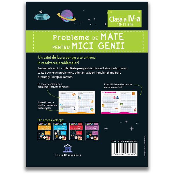 Un caiet de lucru pentru a te antrena în rezolvarea problemelorProblemele sunt de dificultate progresiv&259; &537;i te ajut&259; s&259; abordezi corect toate tipurile de probleme cu adun&259;risc&259;deri înmul&539;iri &537;iîmp&259;r&539;iri precum &537;i unit&259;&539;i de m&259;sur&259;- 80 de probleme cu rezolv&259;ri- Sfaturi &537;i trucuri- Enigme ca s&259; înve&539;i distrându-teLa