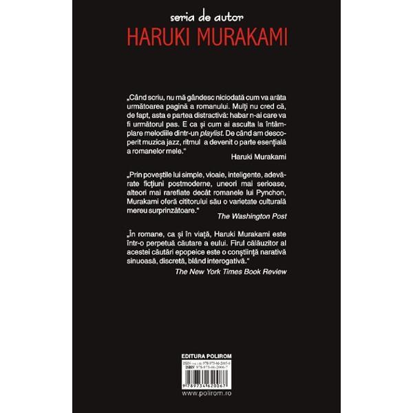 O tinara coboara pe scara de urgenta a unei autostrazi suspendate Intentioneaza sa ucida un om In alta parte a metropolei un profesor de matematica e de acord sa rescrie romanul unei fete dislexice Fara s-o stie cei doi se cauta iar actiunile lor declanseaza o adevarata avalansa de evenimente pentru ca la Murakami povestile simple nu sint niciodata simple In spatele realitatii banale se ascund intotdeauna tenebre periculoase iar trecutul nu se lasa nici rescris nici uitat cu