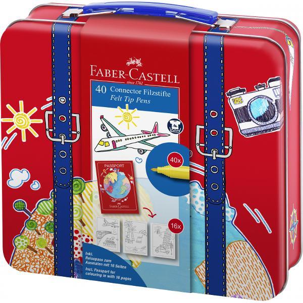 cadoul perfect pentru desen &537;i joac&259;valiza 40 carioci Connector 6 clipsuri si o carte de colorat pasaport