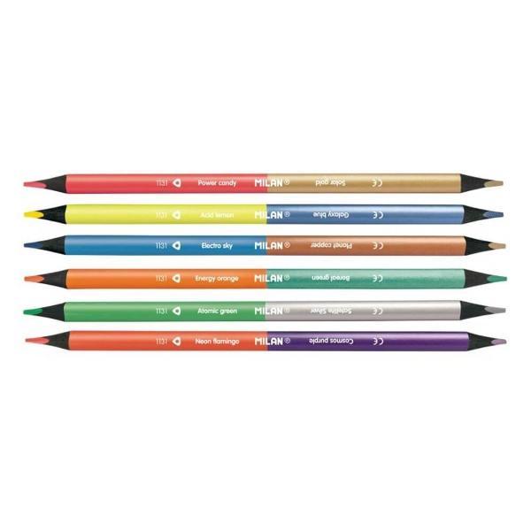 Oferim set 6 creioane bicolore MILAN Fluo Metal cu doua capete12 culori diferite 6 culori metalice 6 culori fluorescente cu corp triunghiular din lemn negru si lungime de 175 mm Produsul se bucura de multiple utilizari scriere colorare desen in cadrul activitatilor creative lucru manual craft decoratiuni hand-made sabloane si schite creative- Corp triunghiular antialunecare pentru a sustine mana in timpul scrisului;- Mina lucioasa si rezistenta la