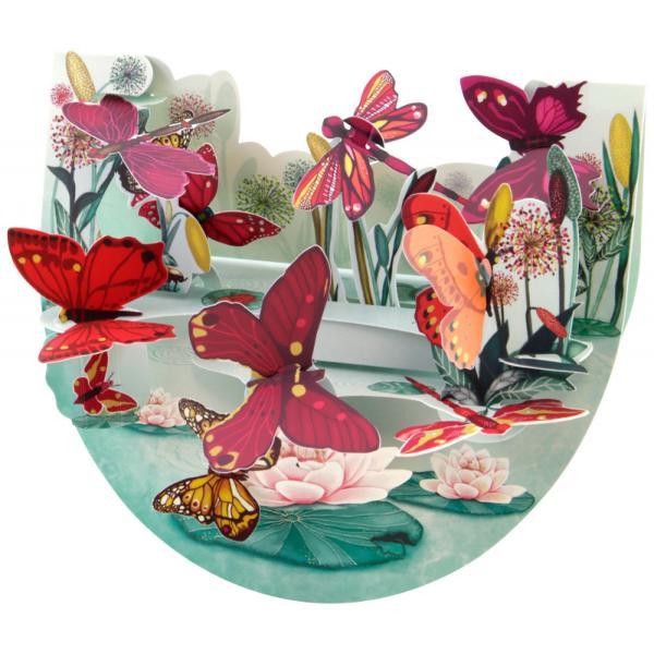 Felicitare 3D PopnRock Insects- FluturiBucura-te de placerea culorii alaturi de felicitarea 3D PopnRock Fluturi care iti va fascina prietenii cu o cromatica de vis animata de elemente interactive fluturi si libelule in nuante vii de rosu roz si portocaliu Miscarea de balans completeaza si trezeste la viata peisajul dandu-ti posibilitatea sa interactionezi cu el si sa te bucuri de placerea vizuala unica oferita