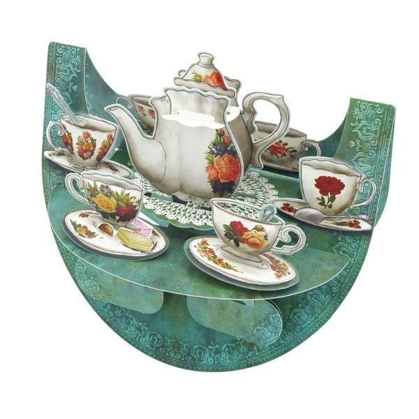 Felicitare 3D PopnRock - Set de ceaiSurprinde-ti prietenii cu o invitatie la ceai printr-o felicitare Felicitarea 3D PopnRock – Set de ceai iti va fascina prietenii si familia prin culorile elegante si designul floral atent Miscarea de balans va aduce la viata cescutele si ceainicul iar formele interactive vor anima intreaga scena cu un simplu gest al mainii tale Pe spatele felicitarii poti scrie un mesaj