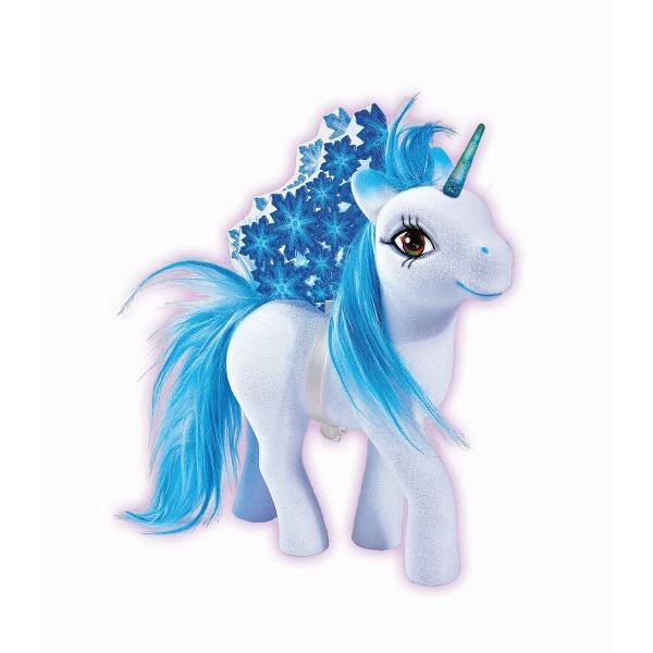 Unicorn de gheata cu par real aripi si corn fluorescent  accesorii perie si oglindaVarsta recomandata 3 ani
