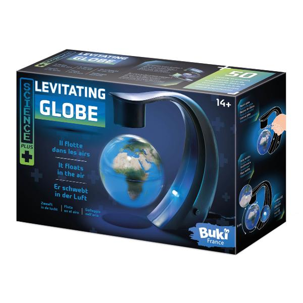Glob cu diametrul de 8 cm care leviteaza datoritabratului magnetic Ledulilumineaza globul produsul putand fi astfel folosit ca si lampa decorativaVeti regasi in brosura inclusa50 informatii uimitoare si anecdote din toate partile lumiiContine glob levitant priza manual ilustratDimensiunile cutiei 25 x 16 x 9 cmVarsta recomandata 14 aniAvertisment A se folosi doar la interior Este o lampa decorativa nu o jucarie Citit cu atentie