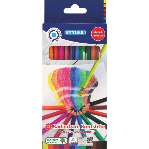 Creioane colorate Stylex-cu radiera-12 culoriset
