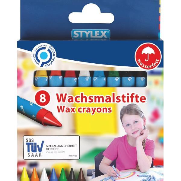 Creioane cerate 8 culorisetAmbalare 8 creioane cerate invelite in hartie cutie de cartonProdus de STYLEX-Germania