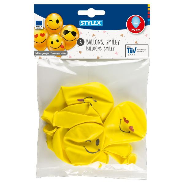 Set 6 baloane Smiley-75 cm-aerheliuCircumferinta baloanelor dupa umflare 75 cm-pot fi umflate si cu heliuBaloane nu sunt umflate