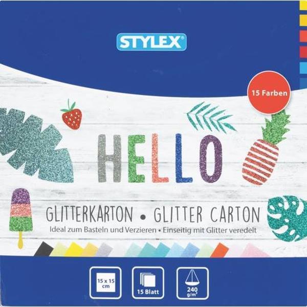 Carton cu glitter 15 x 15 cm 15 culori diferiteGreutate 240g  m2